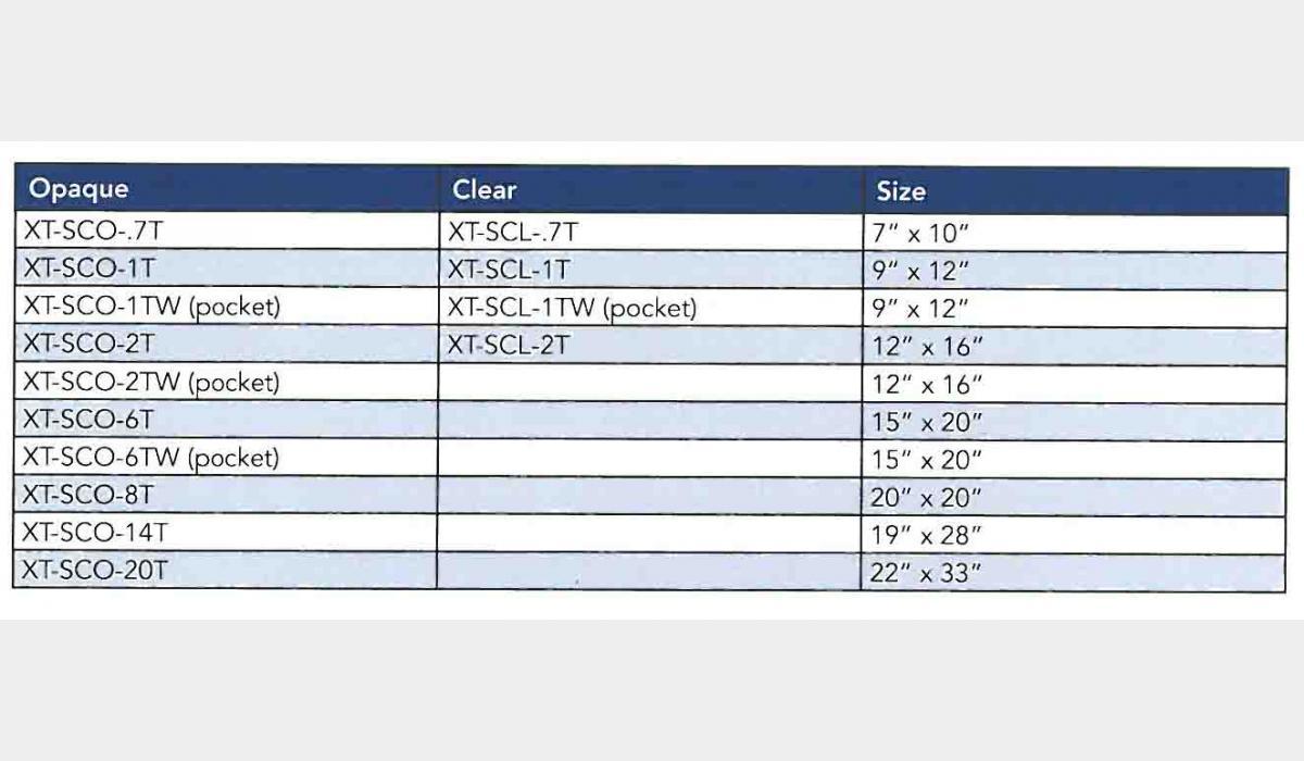 Secure-Pak XT Size Chart